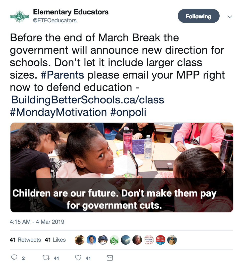 Tweet from ETFO campaign